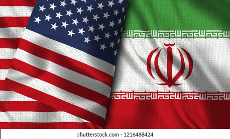USA and Iran - 3D illustration Two Flag Together - Fabric Texture