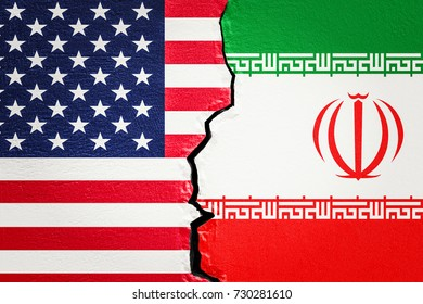 USA and Iran conflict concept, 3D rendering