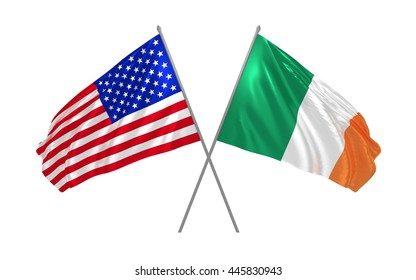 USA and Ireland crossed flags waving in the wind as sign of cooperation or sport competition or diplomatic meeting event. 3d illustration