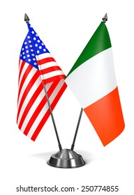 USA and Ireland - Miniature Flags Isolated on White Background.