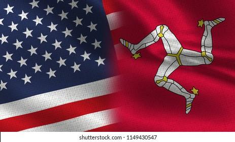 Usa and Isle of Man Realistic Half Flags TogetherIsle of Man