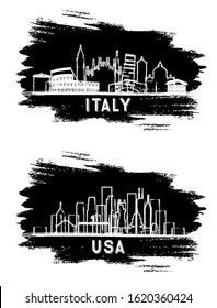USA and Italy City Skylines Silhouette. Hand Drawn Sketch. Business Travel and Tourism Concept with Historic Architecture. Italy Cityscape with Landmarks.