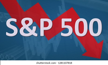 USA - JAN. 2019: The American stock market index S&P 500 is falling. The red zig-zag arrow behind the word S&P 500 on a blue background with a chart shows downwards, symbolizing a price fall or drop.