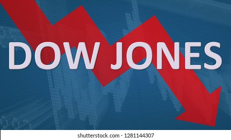 USA - JAN. 2019: The American stock market index Dow Jones is falling. The red zig-zag arrow behind the word Dow Jones on a blue background with a chart shows downwards, symbolizing a fall or drop.