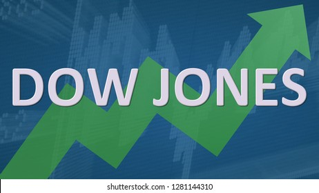 USA - JAN. 2019: The American stock market index Dow Jones is going up. A green zig-zag arrow behind the word Dow Jones on a blue background with a chart shows upwards, symbolizing a price rise.