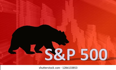 USA - JAN. 2019: The U.S. stock market index S&P 500 is falling. Behind the word S&P 500 is a black bear silhouette looking down on a red descending chart in the background; it's a bearish market.