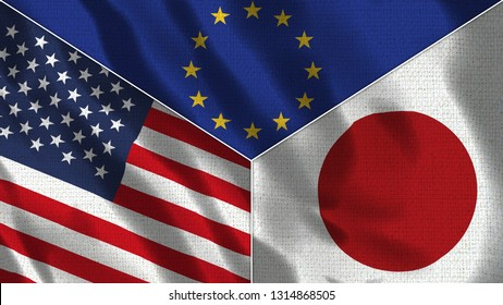 Usa and Japan and European Union Realistic Three Flags Together - 3D illustration Fabric Texture