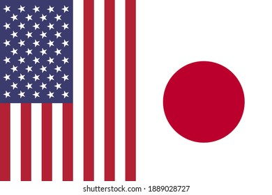 USA and Japan vertical national flags icon isolated together background, abstract creative US Japan political relationship partnership corporation concept pattern