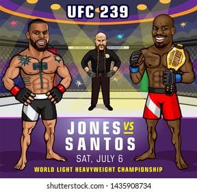 USA. July 6, 2019. T-Mobile Arena, Las Vegas, Nevada. UFC 239. Jones vs. Santos. World light heavyweight championship. Mixed martial arts event.