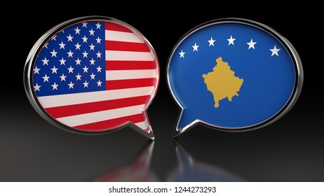 USA and Kosovo flags with Speech Bubbles. 3D illustration