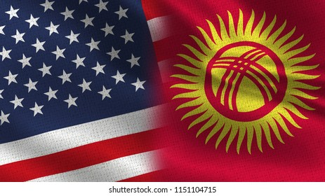 Usa and Kyrgyzstan Realistic Half Flags Together