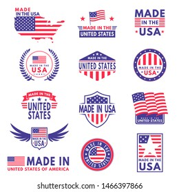 Usa labels. Flag made america american states flags label badge stamp star patriot stripe ribbon emblem sticker banner, business icons