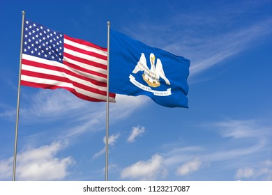 USA and Louisiana flags over blue sky background. 3D illustration