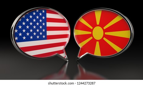 USA and Macedonia flags with Speech Bubbles. 3D illustration