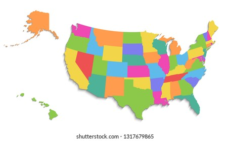 USA Alaska Hawaii Map Separate Individual Stock Vector (Royalty Free ...