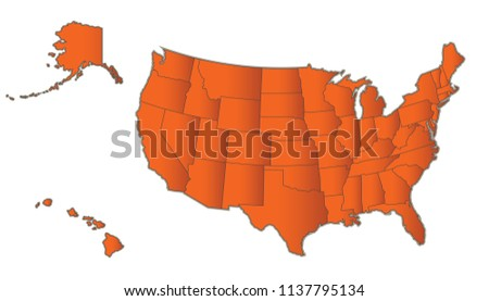 USA Map Alaska Hawaii Orange Separate Stock Illustration - Royalty ...
