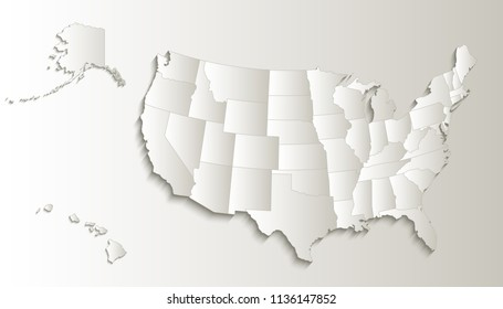 USA Map Alaska Hawaii Separate States Stockillustration 751249681 ...