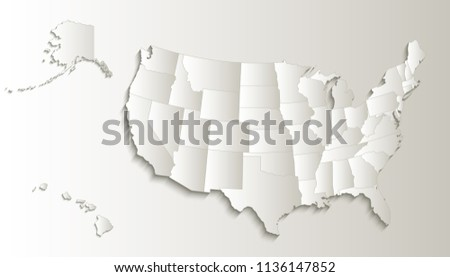 USA Map Alaska Hawaii Map Separate Stock Illustration 1136147852 ...