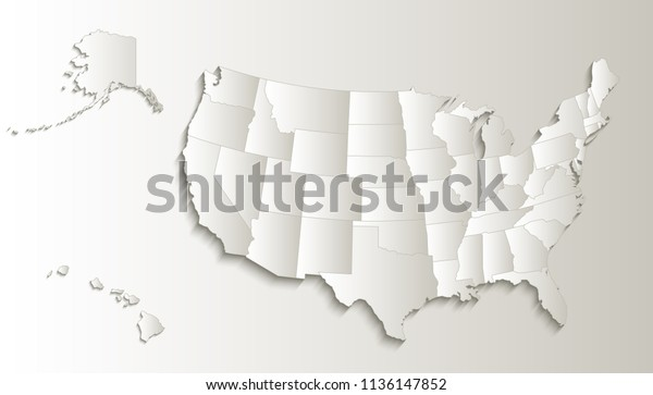 Usa Map Alaska Hawaii Map Separate Stock Illustration 1136147852