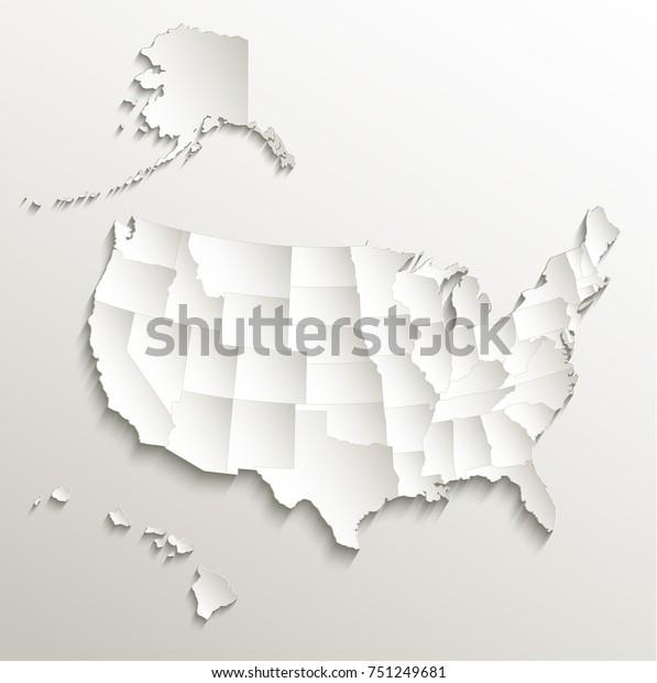 Usa Map Alaska Hawaii Separate States Stockillustration ...