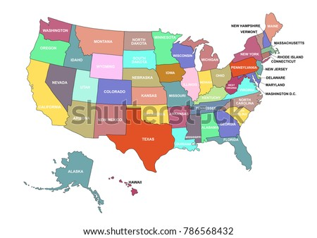 USA Map All States Names On Stock Illustration 786568432 - Shutterstock