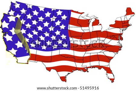 USA Map California Highlighted Flag Color Stock Illustration ...