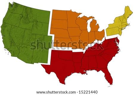 USA Map Divided Into Regions Stockillustration 15221440 – Shutterstock