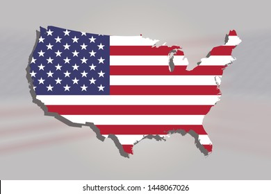 USA map with USA Flag illustration background, American Flag on map,