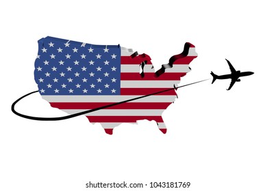 USA map flag with plane silhouette and swoosh 3d illustration