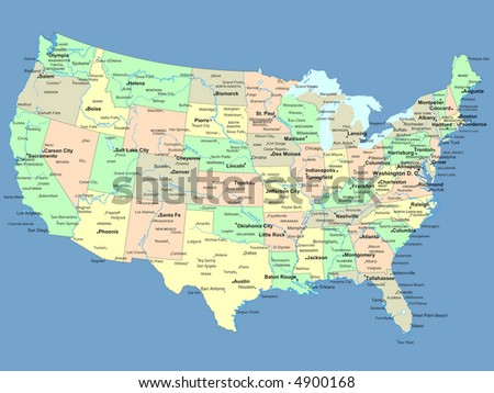 USA Map Names States Cities Stockillustration 4900168 – Shutterstock