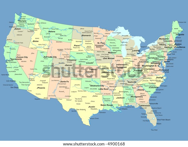 Usa Map Names States Cities Stockillustration 4900168