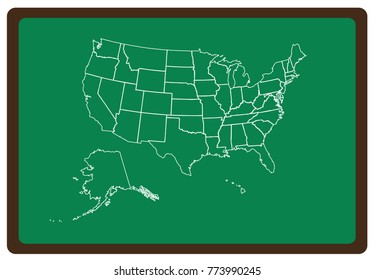 USA map  on green desk