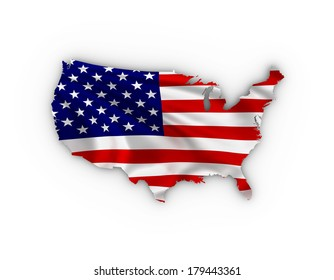 USA map showing the American Flag and including a clipping path.