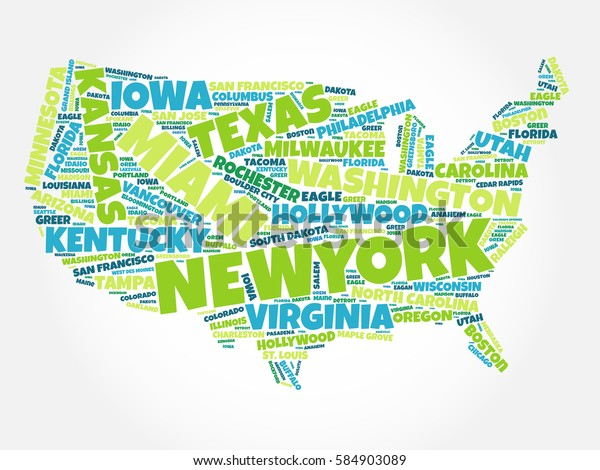Usa Map Word Cloud Most Important Stock Image | Download Now