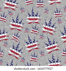USA Marijuana leaf seamless and repeat pattern background red white and blue stars and stripes of the US flag 3D Illustration