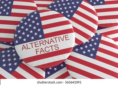 USA Media News Concept Badge: Pile With Alternative Facts Button With US Flag, 3d illustration