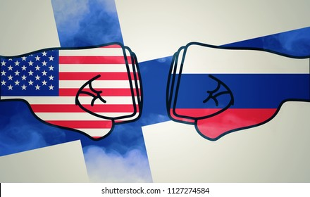 Usa to meet Russia in Helsinki. Fist with USA and Russia flag colors and flag of Finland in background illustration.