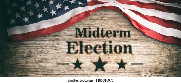 USA midterm election. The American flag and midterm elections clip art on wooden background, banner, 3d illustration.