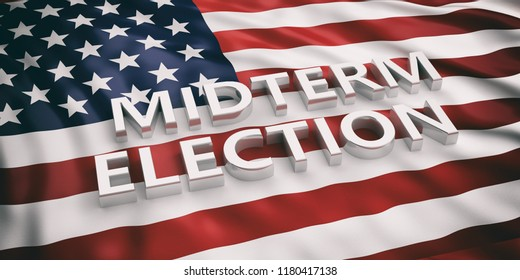 USA midterm election. Midterm elections text on American flag background, 3d illustration.