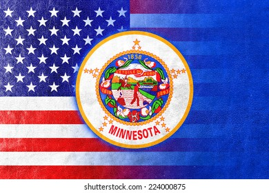 USA and Minnesota State Flag painted on leather texture