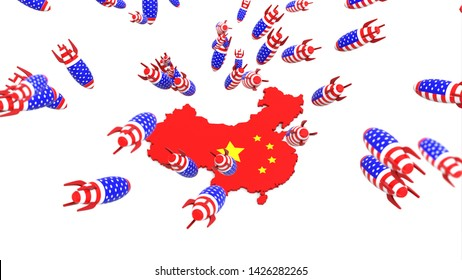 usa missle to china map 3d illustration background