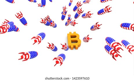 usa missles to bitcoin 3d illustration background
