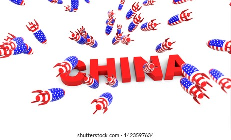 usa missles to  china 3d illustration background