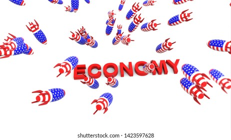 usa missles to economy 3d illustration background