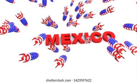 usa missles to mexico 3d illustration background