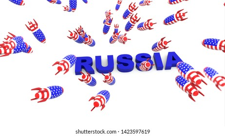 usa missles to russia 3d illustration background