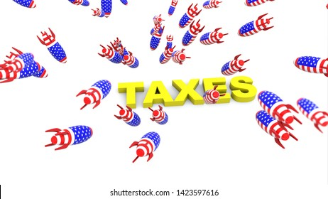 usa missles to taxes 3d illustration background