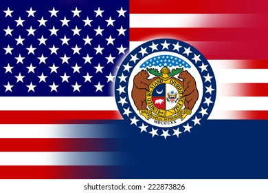USA and Missouri State Flag