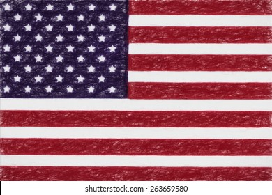 USA national flag in kids Crayon