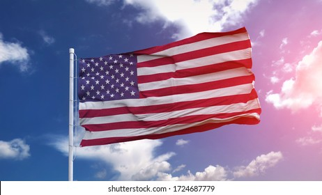 USA national flag waving on the blue sky with beautiful sunlight. 3d illustration.